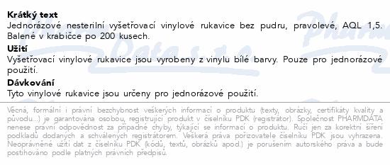Informace o produktu Rukavice vinylové V-R vel.L bezprašné 200ks