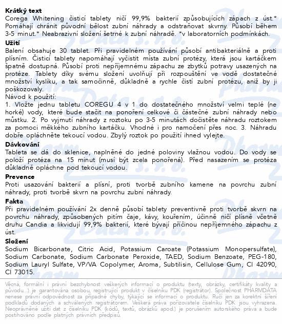 Informace o produktu Corega whitening čisticí tablety 30ks