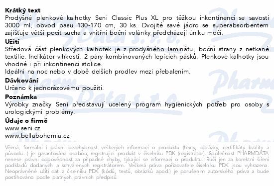 Informace o produktu Seni Classic Plus XL 30ks plenk.kalhotky