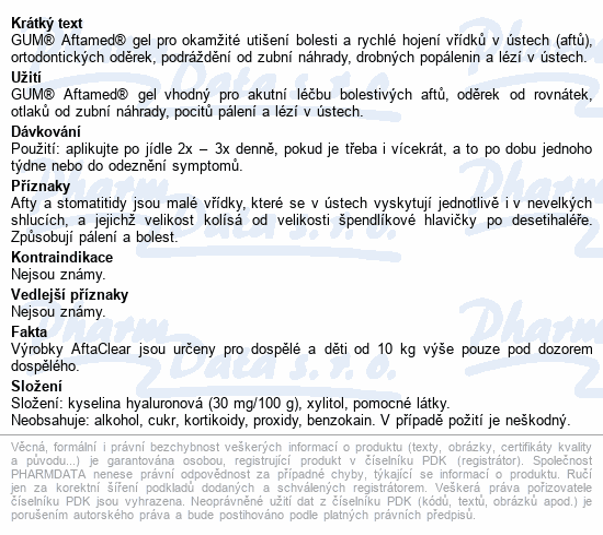 Informace o produktu GUM AftaClear gel 10 ml