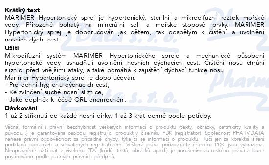 Informace o produktu Marimer hypertonický sprej 100ml