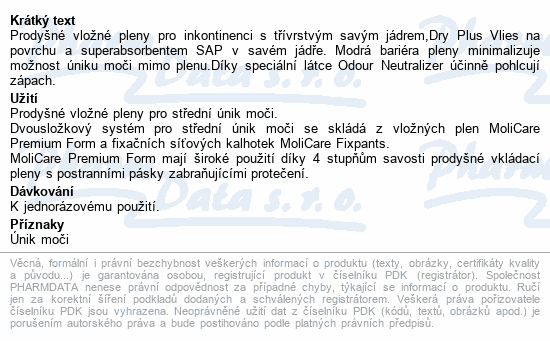 Informace o produktu Inkont.vlož.plena MOLICARE Prem. Form Extra+ 30ks