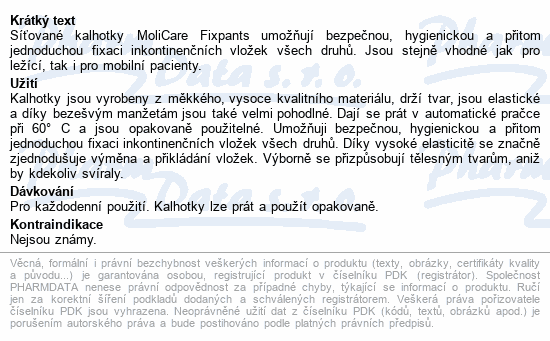 Informace o produktu Inkont.fixač.kalh. MOLICARE Fixpants XL 3ks