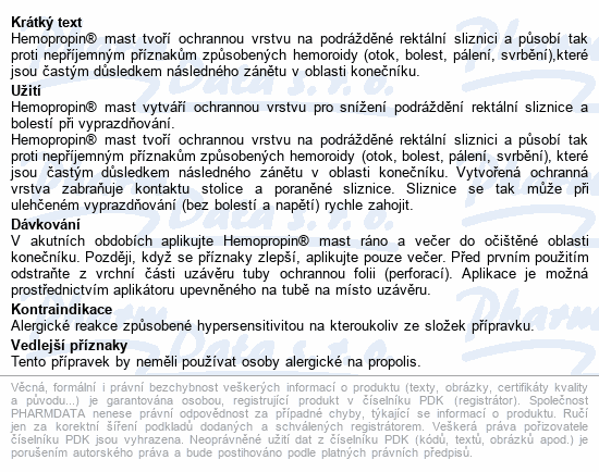 Informace o produktu Hemopropin mast 20g