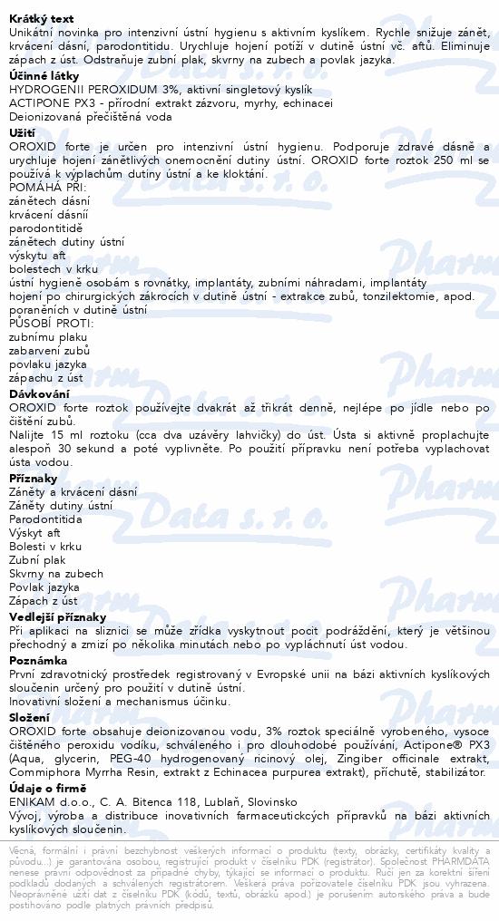 Informace o produktu OROXID forte roztok 250 ml pro ústní hygienu