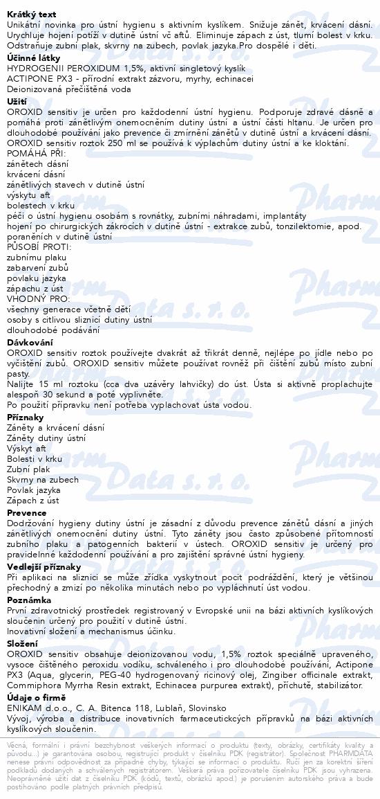 Informace o produktu OROXID sensitiv roztok 250 ml pro ústní hygienu