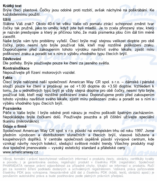 Informace o produktu Brýle čtecí +1.00 FLEX černé s kov.doplňkem