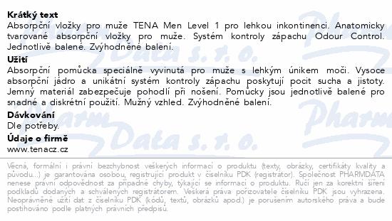 Informace o produktu TENA Men Level 1 +50% navíc ink.vložky 36ks 750681