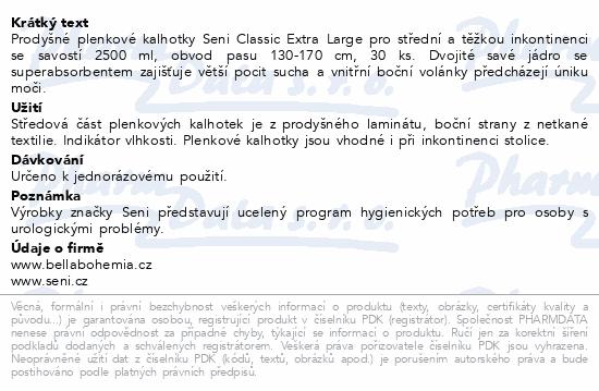 Informace o produktu Seni Classic Extra Large 30ks prodyšné plen.kalh.