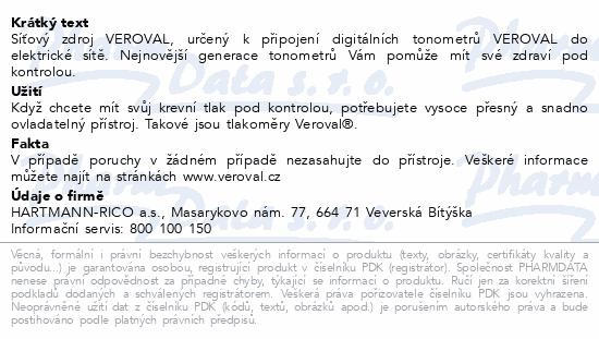 Informace o produktu Tonometr digi Veroval -Síťový adaptér