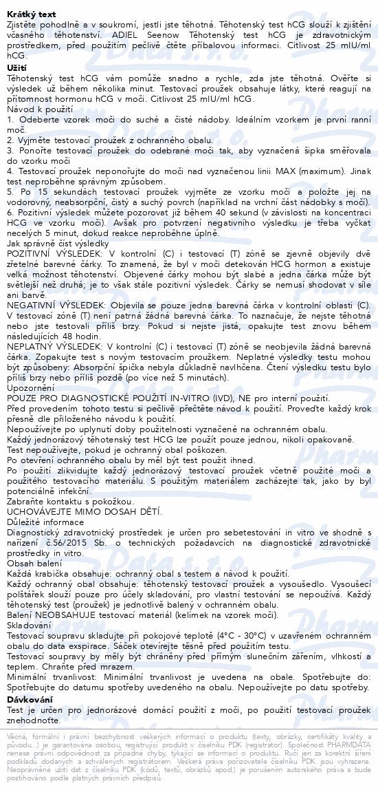 Informace o produktu ADIEL SeeNow těhotenské testy hCG 5ks