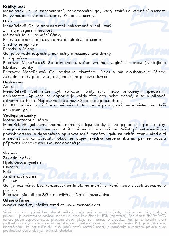 Informace o produktu MenoRelax Gel 30ml