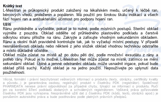 Informace o produktu L-Mesitran Net 10x10cm 10ks