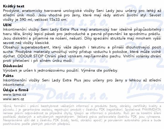 Informace o produktu Seni Lady Extra Plus 15 ks inkontinentní vložky