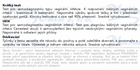 Informace o produktu Canestest test pro samodiagnostiku vagin.infekcí