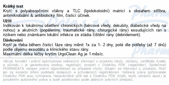 Informace o produktu UrgoClean Ag lipidokolid.krytí 6x6cm 10ks