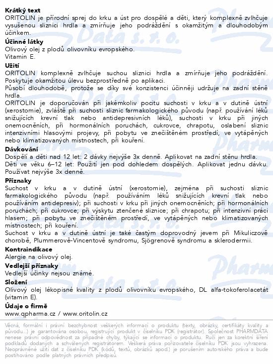 Informace o produktu ORITOLIN sprej 30 ml - 425 dávek
