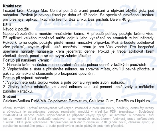 Informace o produktu Corega Max Control 40g