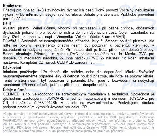 Informace o produktu Inhalátor ultrazvukový JOYCARE JC-615