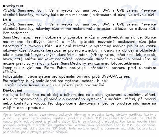 Informace o produktu AVENE Sun Sunsimed 80ml