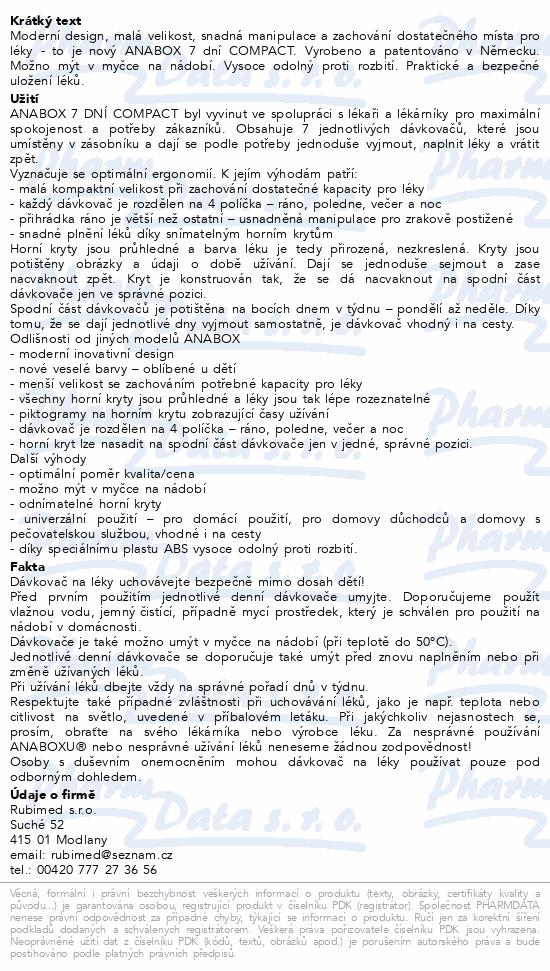 Informace o produktu Dávkovač na léky - modrý ANABOX 7 dní COMPACT