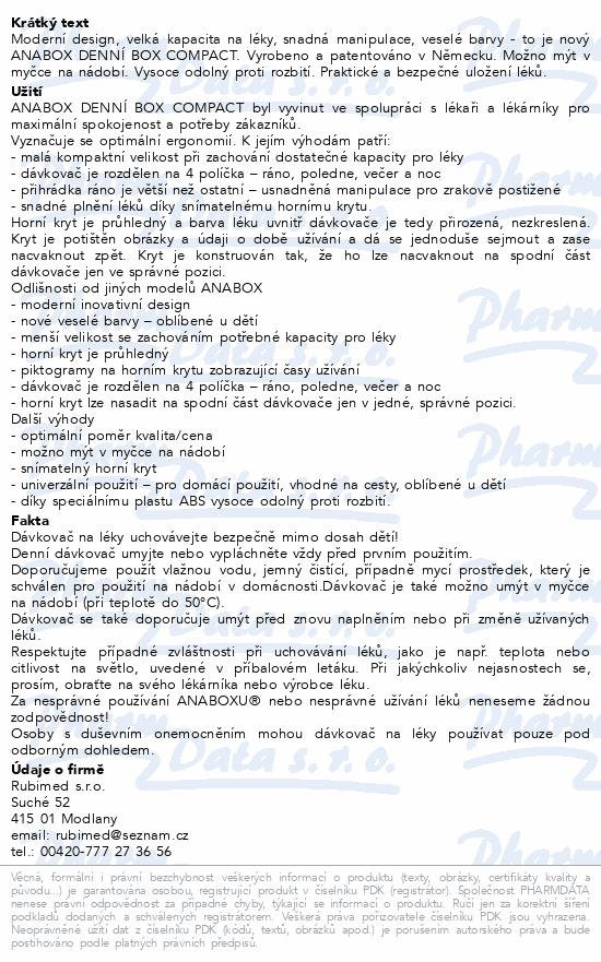 Informace o produktu Dávkovač na léky - zelený ANABOX denní box COMPACT