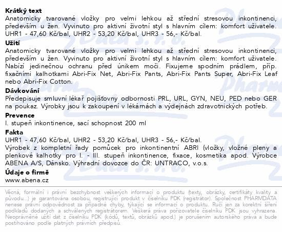 Informace o produktu Inkontinenč. vložka Abena Light Mini Plus 1A. 16ks