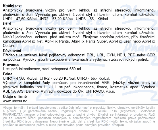 Informace o produktu Inkontinenč.vložka Abena Light Extra Plus 3A. 10ks