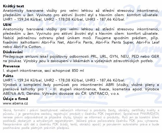 Informace o produktu Inkontinenční vložka Abena Light Super 4. 30ks