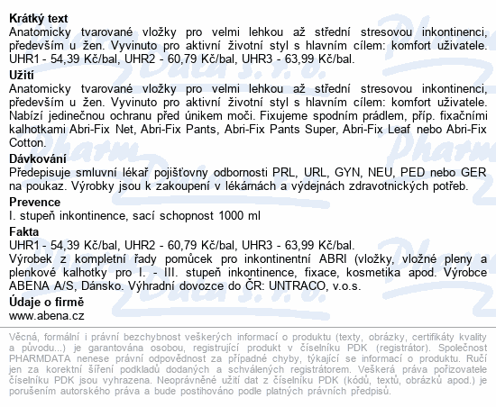 Informace o produktu Inkontinenční vložka Abena Light Maxi 4A. 8ks