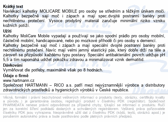 Informace o produktu MOLICARE MOBILE 5kap L14ks(MoliCare Mobil light L)