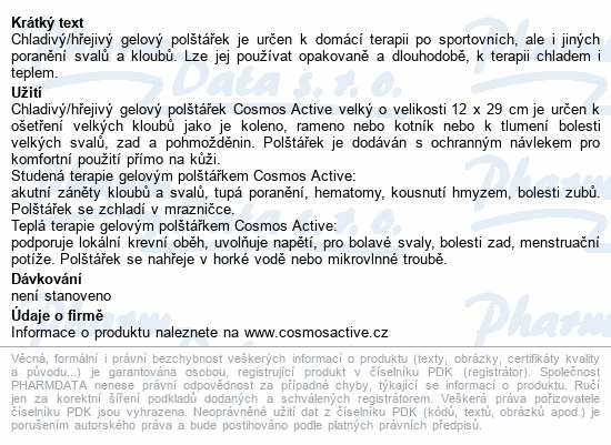 Informace o produktu Cosmos Active - Gel polštářek opakov.použití velký
