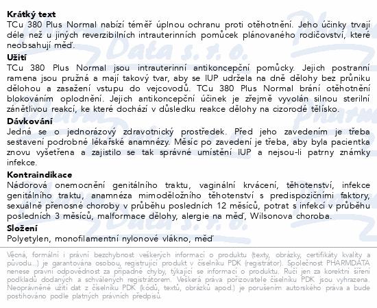 Informace o produktu Nitroděložní tělísko TCu 380 Plus Normal