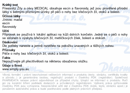 Informace o produktu Priessnitz Žíly a cévy Medical 125ml