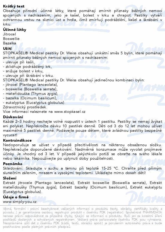 Informace o produktu STOPKAŠEL Medical pastilky Dr.Weiss 12 pastilek