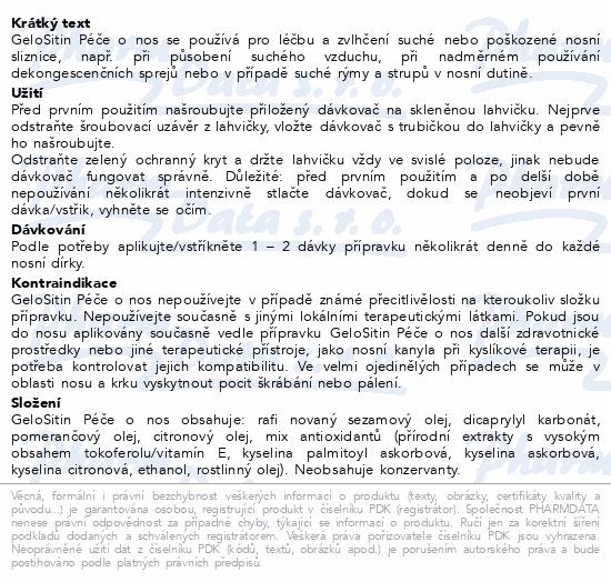 Informace o produktu GeloSitin Péče o nos 15 ml