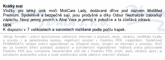 Informace o produktu MoliCare Lady 4 kapky P14 (MoliMed midi plus)