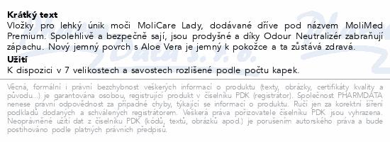 Informace o produktu MoliCare Lady 1.5 kapky P14 (MoliMed micro)