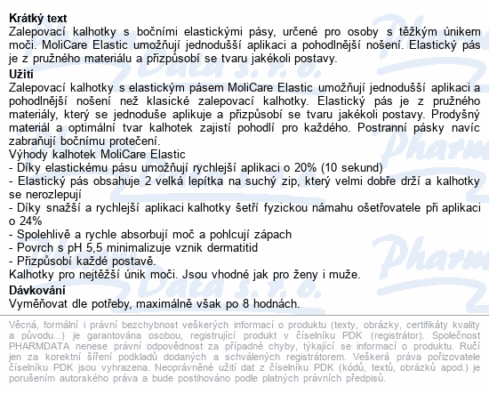 Informace o produktu MOLICARE ELASTIC 8kap XL 14ks(MoliCare Elastic XL)