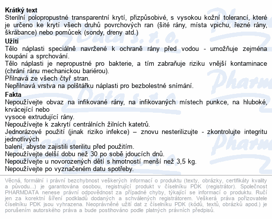 Informace o produktu URGO OPTISKIN Pooperační nápl.transp.15x9cm 5ks