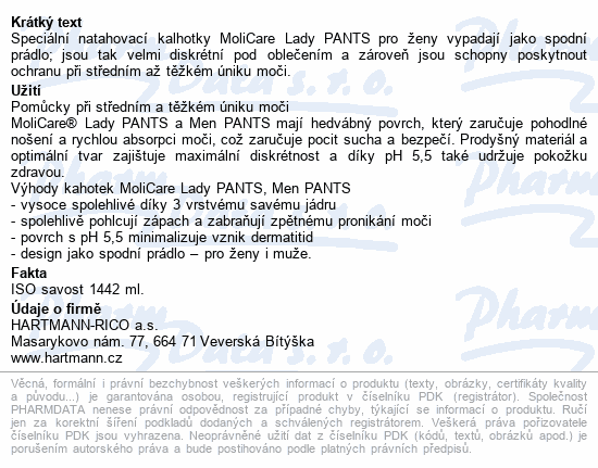 Informace o produktu Molicare Lady Pants 7 kapek M 8ks