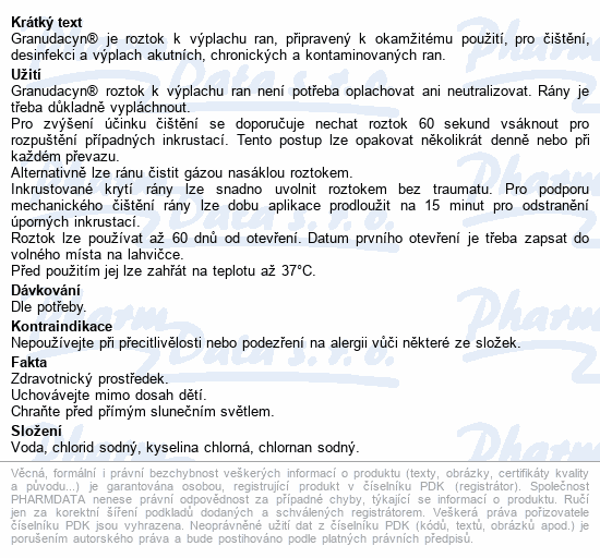 Informace o produktu Granudacyn oplachový roztok na rány 500ml