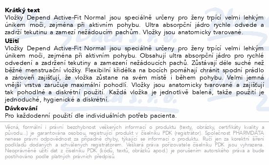 Informace o produktu Depend Active-Fit Normal inkont.vložky ženy 12ks