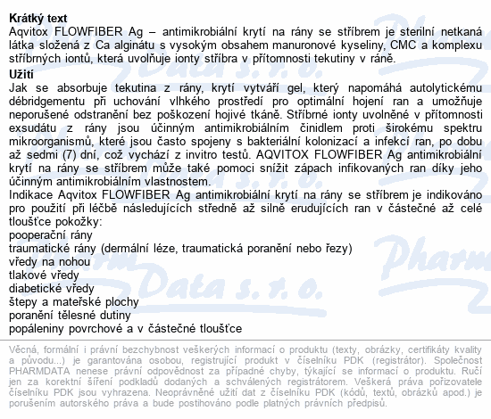 Informace o produktu Aqvitox Flowfiber Ag 10x10cm antimikrobiální 10ks