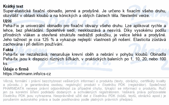 Informace o produktu Obin.elast.fix.Peha-fix 8cmx4m/20ks (Peha-crepp)