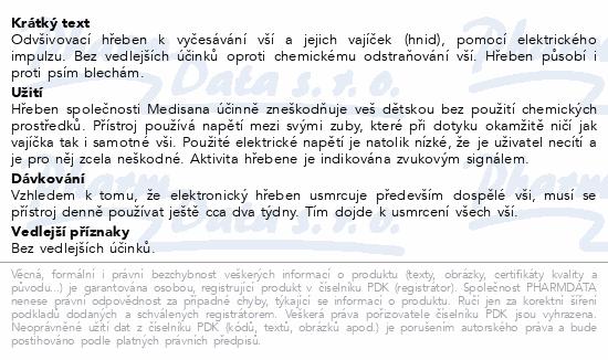 Informace o produktu Medisana Odvšivovací hřeben LC 860