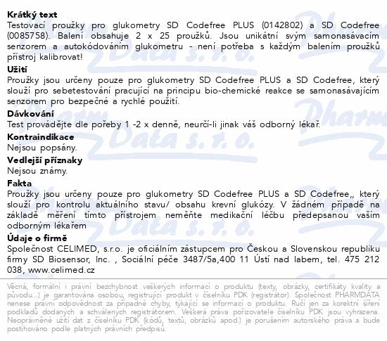 Informace o produktu Testovací proužky pro SD Codefree (PLUS) 50ks