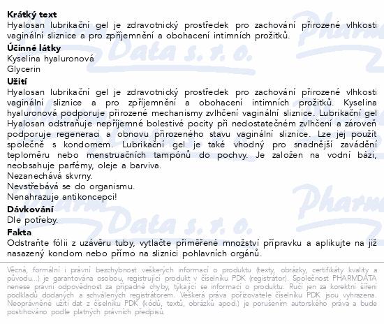 Informace o produktu Hyalosan lubrikační gel 50ml Dr.Müller