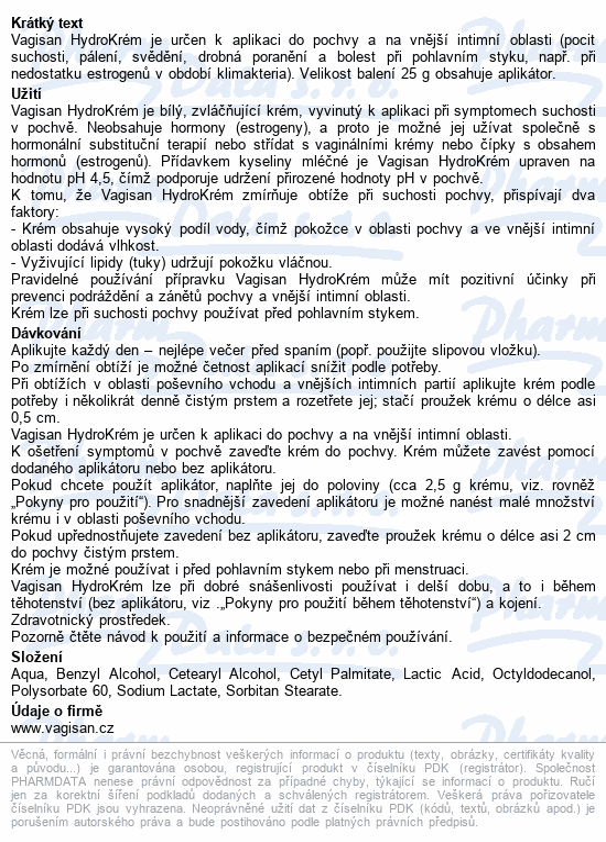 Informace o produktu Vagisan HydroKrém 25g
