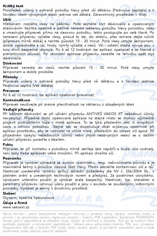 Informace o produktu Antiveš Vakos XT 250g